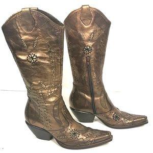 BCBG Cowboy Boots Metallic Bronze Copper Size 6
